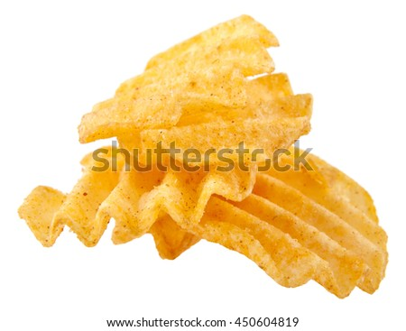chips isolated on white background closeup - stock photo