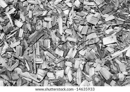 Chips of cypress mulch in black and white for background use - stock photo