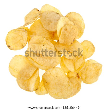 chips on a white background