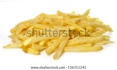 Chips over white background.