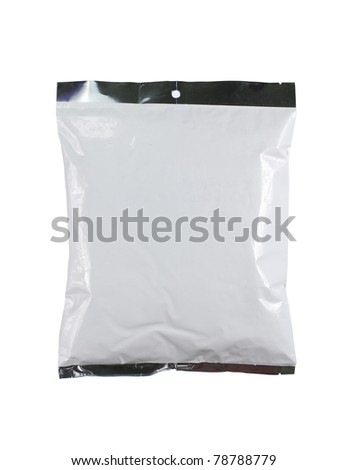 chips plastic pack. isolated over white background - stock photo