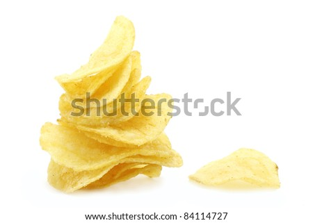 Chips pyramid and single chip - stock photo