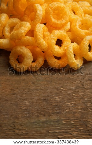 Chips rings on wooden background