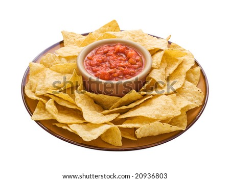 Chips & Salsa isolated on a white background with a clipping path. - stock photo