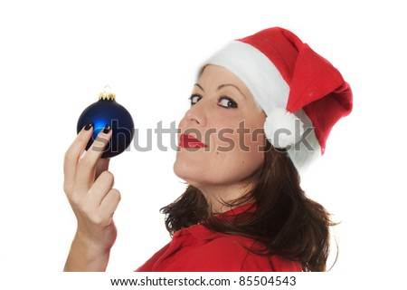 chiristmas girl and the ball - stock photo