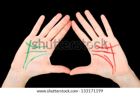 Chiromancy.Color contours on palm, isolated on black - stock photo