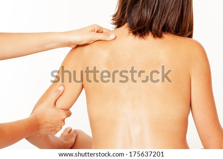 chiropractic care on arm - stock photo