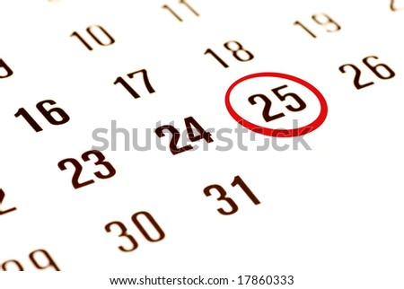 chirstmas day 2008 circled on the calendar - stock photo