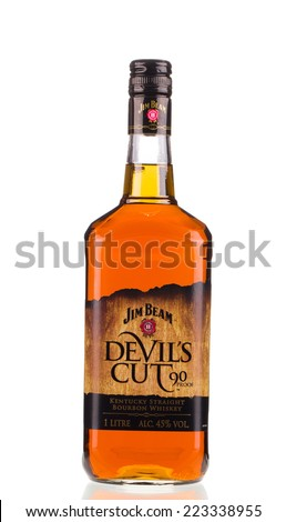 chisinau, moldova  July 16. 2014. jim beam devils cut, one of best selling brands of whiskey in the world. - stock photo