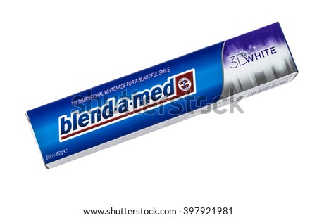 CHISINAU, MOLDOVA - MARCH 25, 2016. Blend-A-Med toothpaste, 3D White Fresh, Cool Water made by Procter & Gamble. Blend-A-Med 3D White provides tri dimensional whiteness and longer lasting freshness.