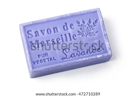 Chisinau, Moldova - March 25, 2016:  La Maison du Savon Marseille Lavande  scented soap isolated on white background with clipping path