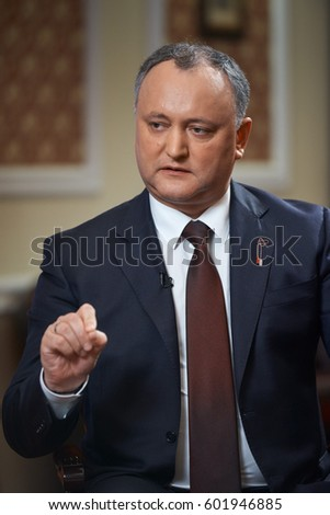 CHISINAU,MOLDOVA/MARCH 11,2017: President of the Republic of Moldova Igor Dodon during an interview with the Russian television