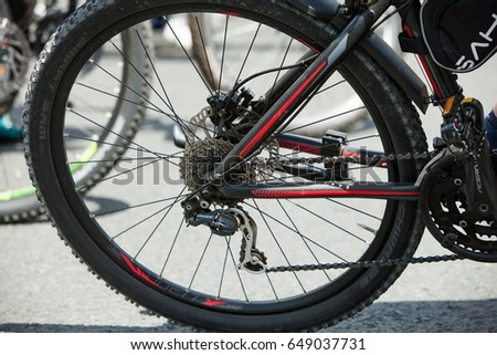 CHISINAU, MOLDOVA - MAY 28, 2017: cycling competition, race bike and professional cyclists during the cycling race in Chisinau, Moldova on May 28, 2017