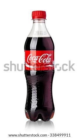 CHISINAU , MOLDOVA- NOVEMBER 12, 2015 Photo of Coca-Cola plastic bottle Isolated on white Background  With clipping path - stock photo