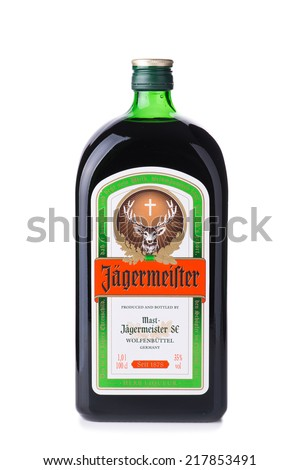 Chisinau,Republic of Moldova-September 17, 2014: Studio shot of a bottle of Jagermeister digestif. Jagermeister is a German 70-proof digestif made with 56 different herbs and spices.    - stock photo