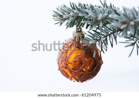 chistmas decoration hanging from the fir tree branch covered by hoarfrost - stock photo