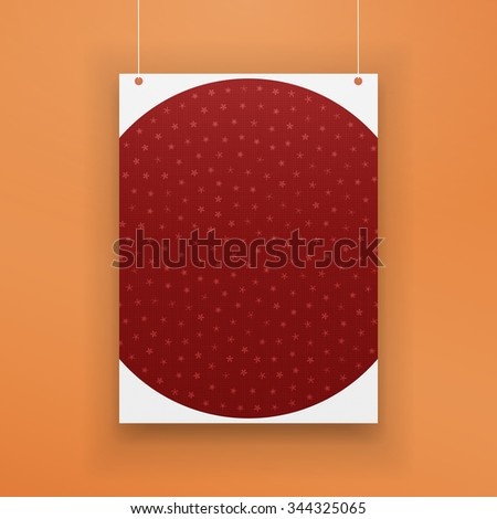 Chistmas paper red Page with Snowflakes hanging against orange Background. Realistic Holiday Poster Mockup - stock photo