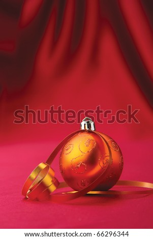 Chistmass ball on silk background