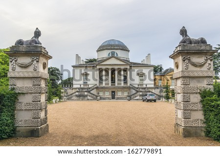 Chiswick House is a Palladian villa (1729) in Burlington Lane, Chiswick, in London Borough of Hounslow in England. Arguably finest remaining example of Neo-Palladian architecture in London. - stock photo
