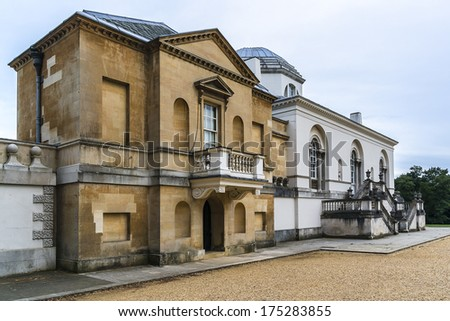Chiswick House - Palladian villa (1729) in Burlington Lane, Chiswick, in London Borough of Hounslow in England. Arguably finest remaining example of Neo-Palladian architecture in London. Rear of villa