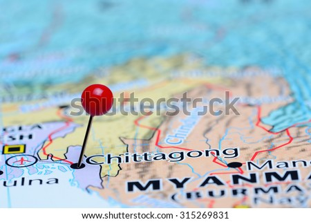 Chittagong pinned on a map of Asia  - stock photo