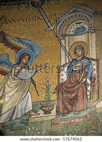 Chiusi - The Romanesque Cathedral (Duomo) of San Secondiano, built around 560 AD over a pre-existing basilica, and renovated in the 13th century. Mosaic with scenes from the life of Virgin Mary - stock photo