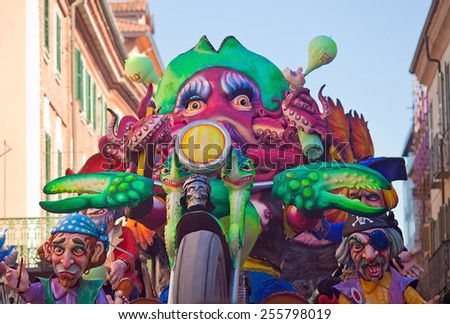 CHIVASSO, ITALY- FEBRUARY 22: Float and masks during the parade of Carnival on February 22, 2015  in Chivasso, ITaly - stock photo