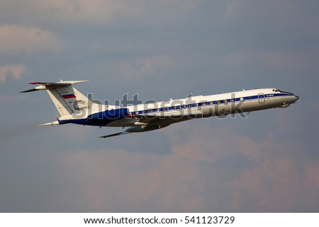 CHKALOVSKY, MOSCOW REGION, RUSSIA - JULY 28, 2011: Tupolev Tu-134A-3 RA-65573 of russian air force taking off at Chkalovsky airport.