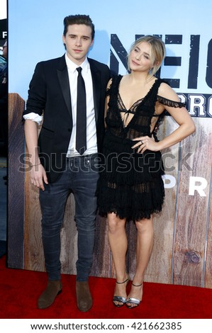 Chloe Grace Moretz and Brooklyn Beckham at the Los Angeles premiere of 'Neighbors 2: Sorority Rising' held at the Regency Village Theatre in Westwood, USA on May 16, 2016. - stock photo