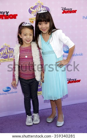 "Chloe Noelle and Aubrey Anderson-Emmons at the Los Angeles premiere of ""Sofia the First: Once Upon a Princess"" held at the Disney Studios in Los Angeles, United States on November 10, 2012."