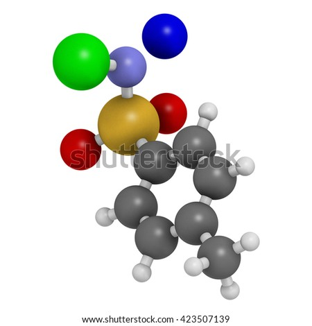 Chloramine-T (tosylchloramide) disinfectant molecule. 3D rendering.  Atoms are represented as spheres with conventional color coding: hydrogen (white), carbon (grey), etc  - stock photo