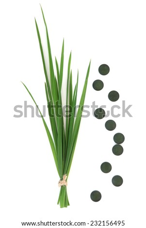 Chlorella tablets and wheat grass over white background. - stock photo
