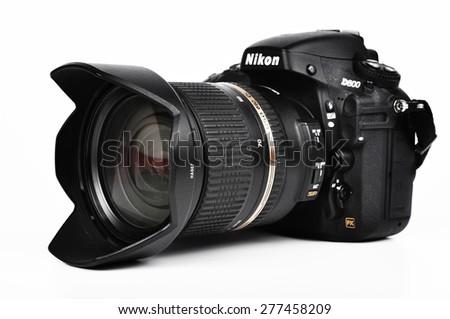 CHLUMCANY, CZECH REPUBLIC, APRIL 25, 2015: Nikon D800 and Tamron AF SP 24-70mm f/2,8 lens - stock photo