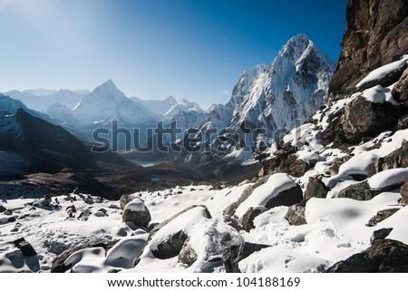 Cho La pass and sunrise in Himalayas.Climbing in Nepal - stock photo