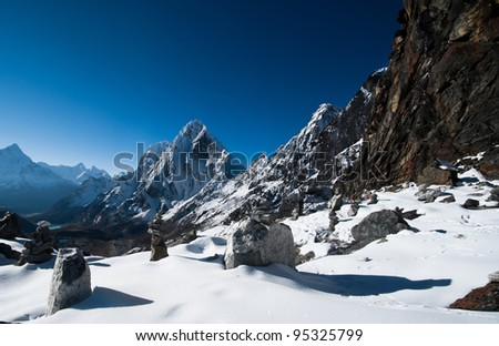 Cho La pass in Himalayas. Pictured in Nepal at height 5200 m - stock photo