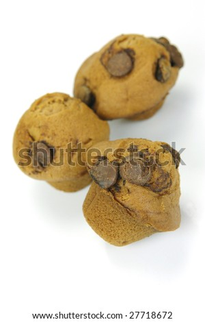 Choc chip mini muffins isolated against a white background