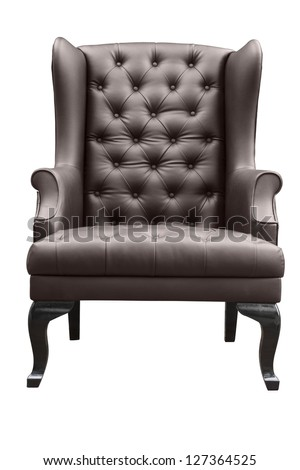 choc leather armchair isolated on white. - stock photo