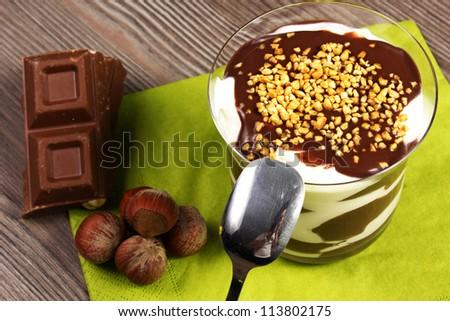 choclate and cream dessert - stock photo