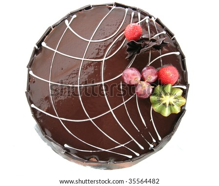 choclate cake top view - stock photo