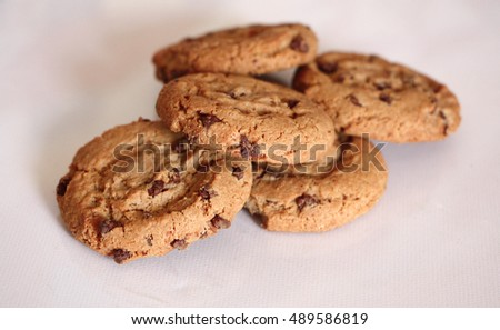 Chocolate american cookies isolated on white