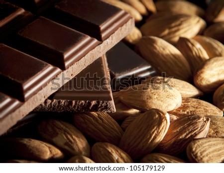 Chocolate and almonds - stock photo