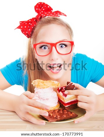 Chocolate and cake sweets temptation, funny woman eating dessert - stock photo