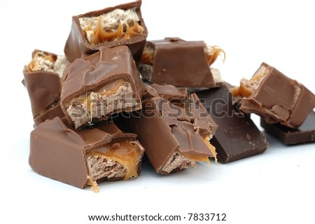chocolate and caramel bars - stock photo