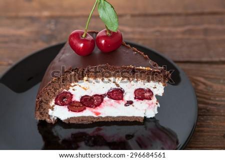 Chocolate and Cherry Cake Slice - stock photo
