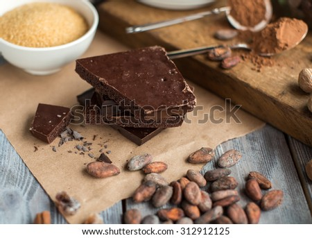 chocolate and cocoa beans - stock photo