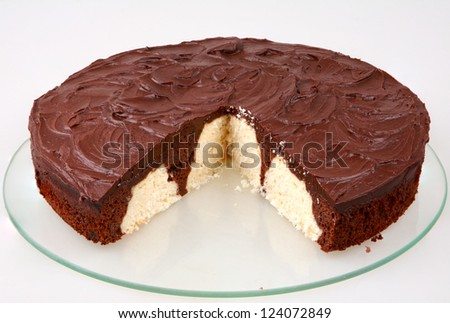 chocolate and coconut cake sliced