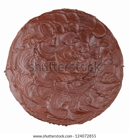 chocolate and coconut cake top view isolated on white