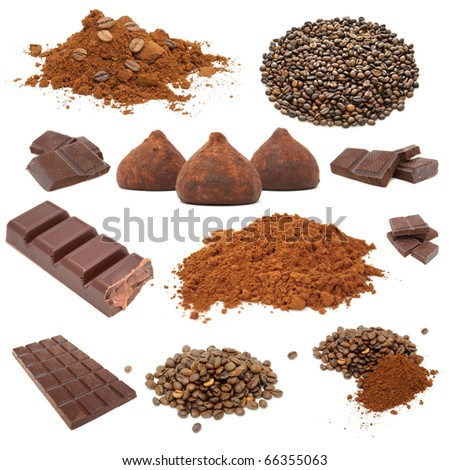 Chocolate And Coffee Set Isolated on White Background - stock photo