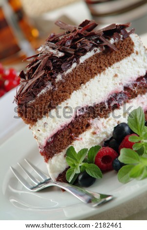 chocolate and cream cake - stock photo