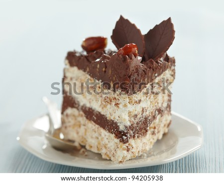 chocolate and hazelnut cake slice